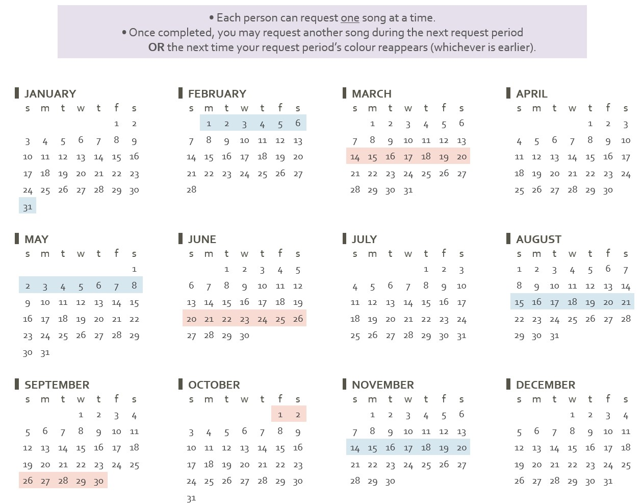 Displays request calendar for 2021. Requests are open 31 January to 6 February, 14 March to 20 March, 2 May to 8 May, 20 June to 26 June, 15 August to 21 August, 26 September to 2 October, and 14 November to 20 November.